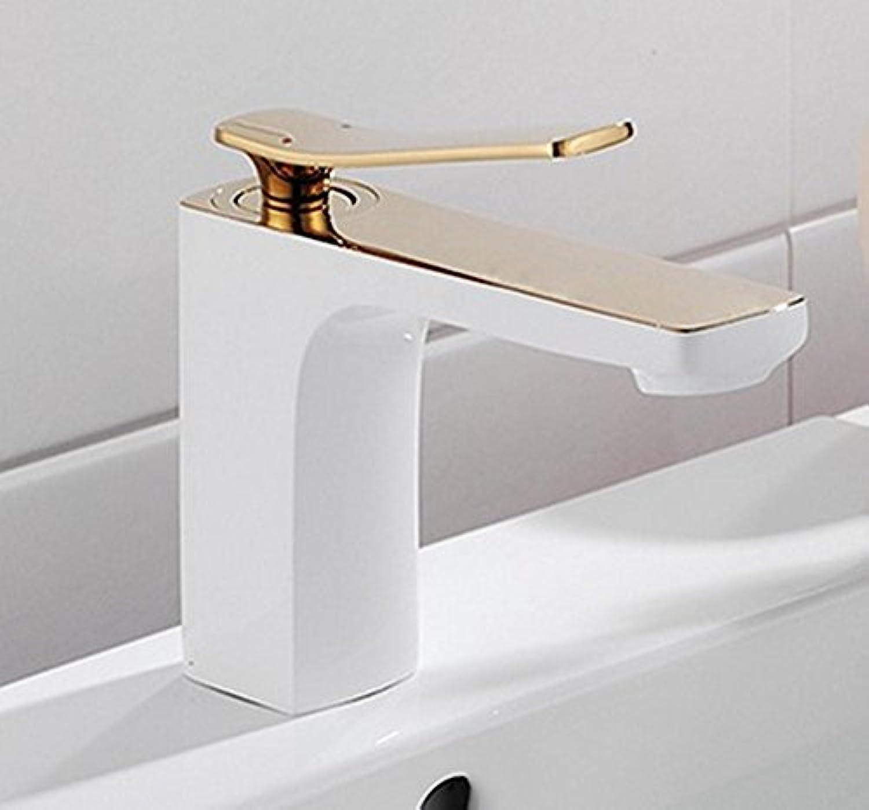 Armaturen im Badezimmer Kupfer Gold gerstete weie Farbe Badezimmer Wasserhahn einzigen Handgriff einzigen Loch Wasserhahn sinkt