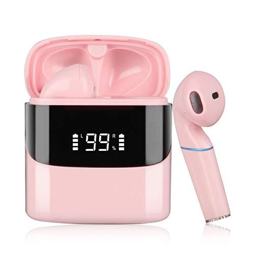 Auricolare Bluetooth Senza Fili | Sendowtek Cuffie Bluetooth 5.0 con Stereo Microfono Display LED Scatola di Ricarica USB-C Controllo Touch IPX5 Impermeabile per Android Phone PC (Rosa)