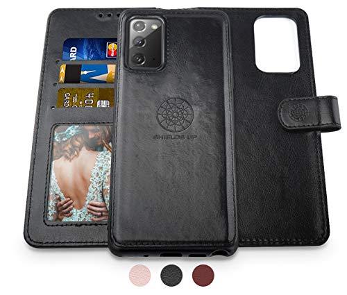 Shields Up Handyhülle für Galaxy Note 20 Ultra Hülle,[abnehmbare] magnetische Schutzhülle,[Kartenfach],[Standfunktion] Schlaufe, [veganes Leder] für Samsung Galaxy Note 20 Ultra Tasche - Schwarz
