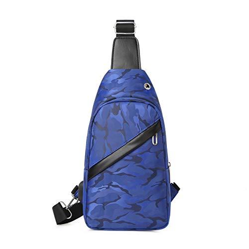 Men's Chest Bag Water-Repellent Shoulder Bag Sling Crossbody Bag Outdoor Sport Bag with USB Charging Port,Blue