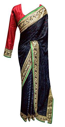 Desi Sarees Donne Netto Motivo Floreale Indiano Saree 7073