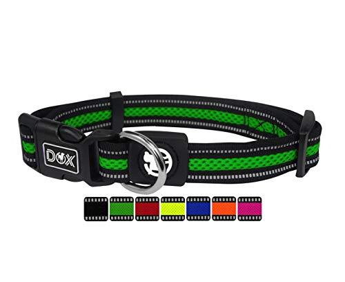 DDOXX Hundehalsband Air Mesh, reflektierend, verstellbar, gepolstert | viele Farben | für kleine & große Hunde | Halsband Hund Katze Welpe | Hunde-Halsbänder | Katzen-Halsband klein | Grün, S