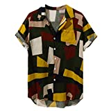 Aniywn Summer Men's Hawaiian Printing Shirt Vintage Casual Button Down Loose Short Sleeve Tee Shirt Yellow