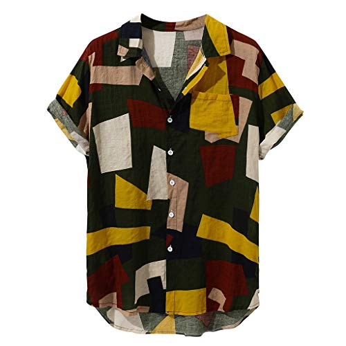 AmyGline Herren Hawaiishirt Hawaii Hemd Vintage Afrika Druck Baumwolle Hawaii Strand Kurzarm T-Shirts Tops Hemden Freizeithemd