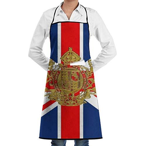 Delantal de chef con escudo británico Dieu Et Mon Droit para mujeres y hombres, delantal de cocina divertido delantal de barbacoa ajustable con bolsillos