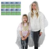 Poncho Family Pack Clear - 8 Thick Disposable Rain Ponchos Transparent - Includes 4 adult (Men and Women) and 4 child ponchos with hoods