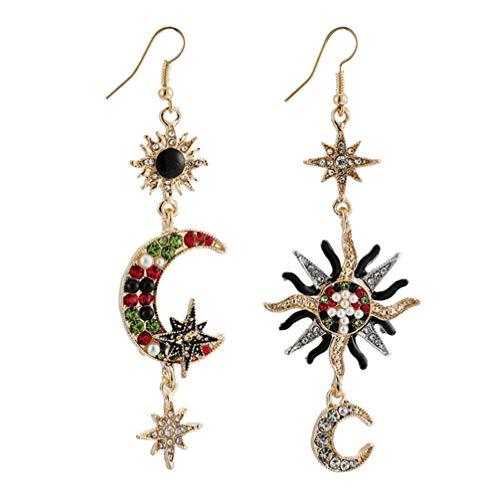 Happyyami 1 par de pendientes colgantes con luna y sol pendientes de perlas con brillantes pendientes colgantes asimétricos pendientes Punk Vintage Boho para mujer