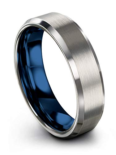 Chroma Color Collection Tungsten Carbide Wedding Band Ring 6mm for Men Women Blue Interior with Grey Exterior Bevel Edge Brushed Polished Comfort Fit Anniversary Size 9