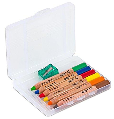 Buntstifte-Set, 6 x Holz-Malstifte inkl. Spitzer - Holzfarbstifte für Kinder