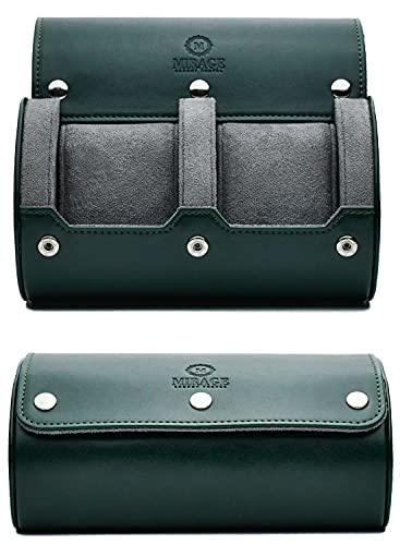 Estuche de viaje para reloj - para hombres - para mujeres - 2 relojes Roll Travel Case Organizador Display - Verde real