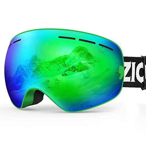 ZIONOR XMINI Kids Ski Snowboard Snow Goggles Detachable Lens UV Protection Anti-Fog for Child Boys Girls Youth (VLT 23% Green Frame Grey Revo Green Lens)