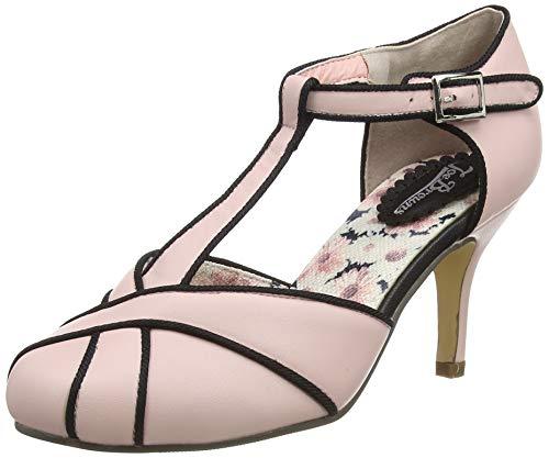 Joe Browns Very Vintage T-Bar Shoes, Zapatos Planos Mary Jane para Mujer, Rosa/Negro, 38 EU