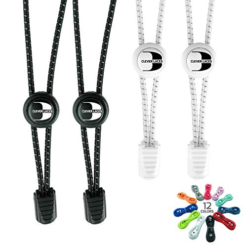 CLEVER LACES - Elastic Shoelaces with No-Tie Lacing System - Fast, Safe and Comfortable - For Sports, Triathlon and Leisure- Reflective Design for Children and Adults(Deep Black / Pure White)