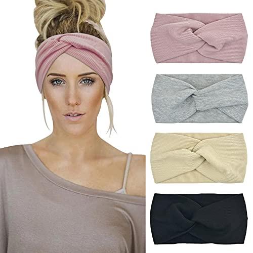 DRESHOW Damen Stirnbänder Kopfwickel Haarband Bögen Zubehör Fliege Schleife Gestrickte Verdrehte Weiche Turban Kopf (Beige Grey Pink Black)