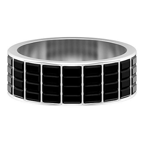 Anillo de diamante negro creado en laboratorio de 2,16 CT, conjunto de canales, anillo de baguette, banda ancha de oro, 14K Oro blanco, Size:EU 52