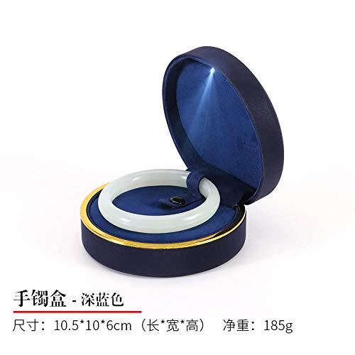 fangfaner Wedding voorstel ring box leer met licht creatieve gouden grens hanger ketting sieraden doos custom