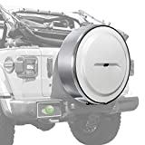 Boomerang - MasterSeries Hard JL Tire Cover - (255/70R18) - (Painted Plastic Face & Polished Stainless Ring) for Jeep Wrangler JL (with Back-up Camera) - Sahara (2018-2020) - Bright White