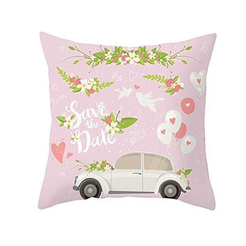 AtHomeShop Fundas de cojín de 50 x 50 cm, fundas de cojín decorativas en poliéster con coche con globo, suave, cuadradas para el hogar y el sofá, el coche, la terraza, color rosa y verde, estilo 12