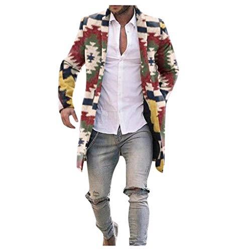 VJGOAL Offerta Uomo Cappotto di Lana Lungo Invernali Etnico Retro - Capispalla Cashmere Colore Arcobaleno Vintage - Cardigan Wool Coat Eleganti