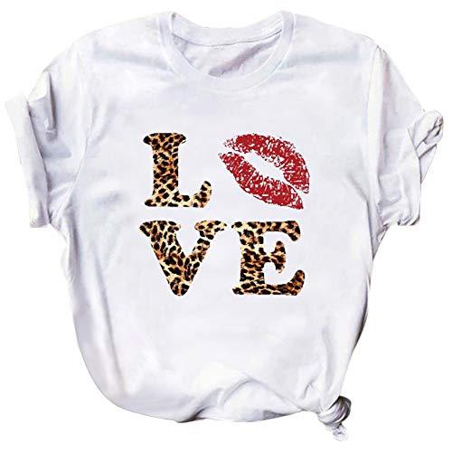 YANFANG Tops Mujer Cortos,Camiseta de Manga Corta con Cuello Redondo y Estampado de San Valentín a la Moda para Mujer Camisetas, Tops y Blusas