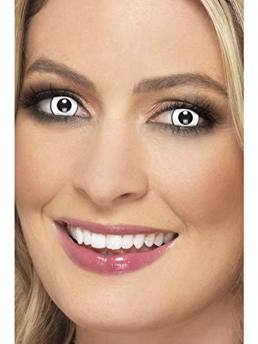 Halloweenia - Damen Herren Kontaktlinsen Party Linsen Psycho Manson, Kostüm Accessoires Zubehör, perfekt für Halloween Karneval und Fasching, Weiß
