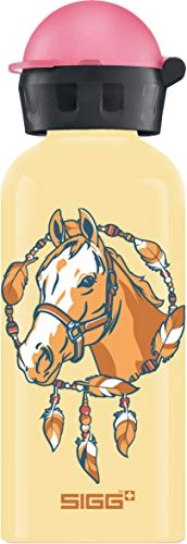 SIGG Horse Kinder Trinkflasche (0.4 L), schadstofffreie Kinderflasche mit auslaufsicherem Deckel, federleichte Trinkflasche aus Aluminium