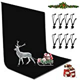 YICOE 6.5 x 10 ft Black Photo Backdrop Background Wrinkle-Resistant Backdrop with 8 Backdrop Clip,...