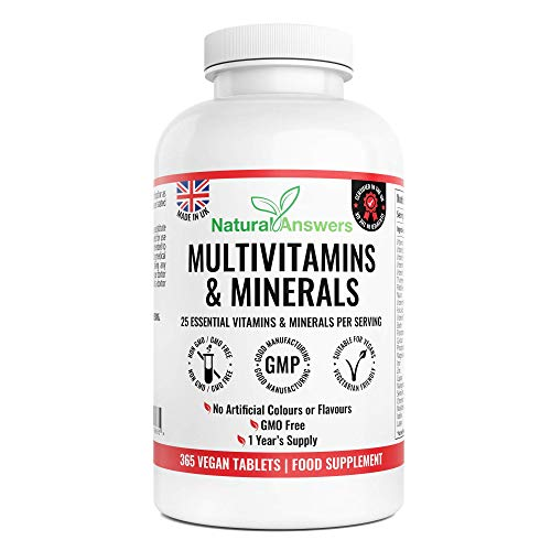 Multivitamins & Minerals Formula | 365 Tablets (Up to 1 Year Supply) | 25 Multivitamins with Iron and Minerals for Men and Women | Multivitamin Tablets Suitable for Vegetarians by Natural Answers