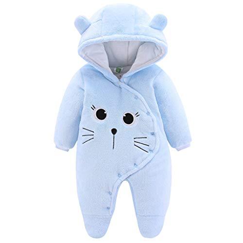 JiAmy Bebé Ropa de Invierno Mameluco con Capucha Fleece Traje de Nieve Pelele de Algodón Azul 6-9 Meses