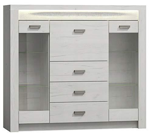 MG Home Möbelsystem LED Beleuchtung Schlafzimmer Wohnzimmer Kommoden Sideboards Wohnzimmerschrank Nachtstuhl Asche weiße Indiana (Symbol: I-8 Größe: Breit 137 Tiefe: 42 Höhe: 122, Weiße Eiche)