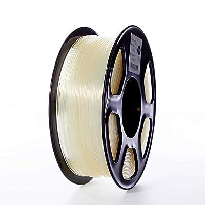 TOPZEAL 3D Plastic Filament PLA Filament 1.75mm 1KG Dimensional Accuracy +/- 0.02mm PLA Transparent 3D Printing Materials Transparent Color