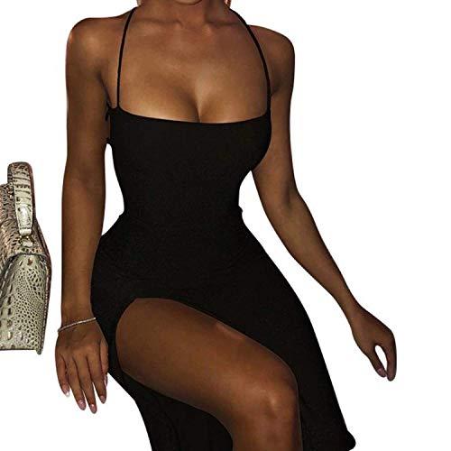 Maison Castellar Robe de Soirée - Cocktail – Clubbing - Fendue - Dos Nu – Plongeant à Lacets - Moulante - Sexy Chic - Bretelles Spaguettis - Longue (Noire, L)