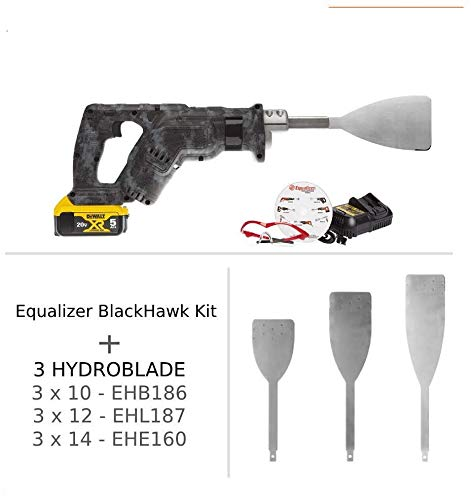 Equalizer Industries Blackhawk 20-Volt Tool Cordless Windshield Urethane Cut Out Removal & 3 Hydroblades, WindshieldAuto Glass Extractor Removal Tools,
