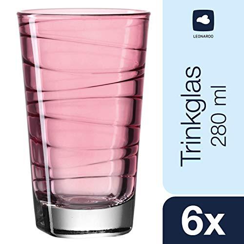 Leonardo Vario Struttura Becher groß Rubino,  6-er Set, 280 ml, weinrotes Klarglas mit Colori-Hydroglasur, 018233