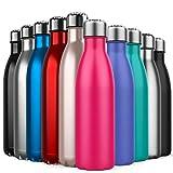 BICASLOVE Bottiglia Termica, Bottiglia per Vuoto in Acciaio Inossidabile,Design a Doppia Parete, Bocca Standard, per Corsa, Palestra, Yoga, Ciclismo [500ML Rosa Rossa]