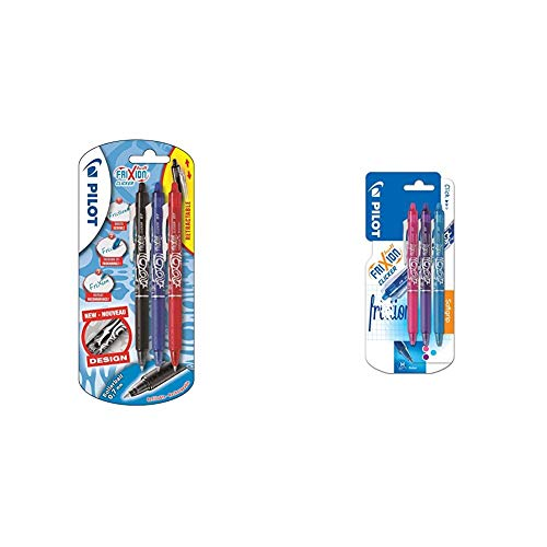 Pilot FriXion Clicker - Bolígrafo roller de gel de tinta borrable (3 unidades) + FriXion Clicker -...
