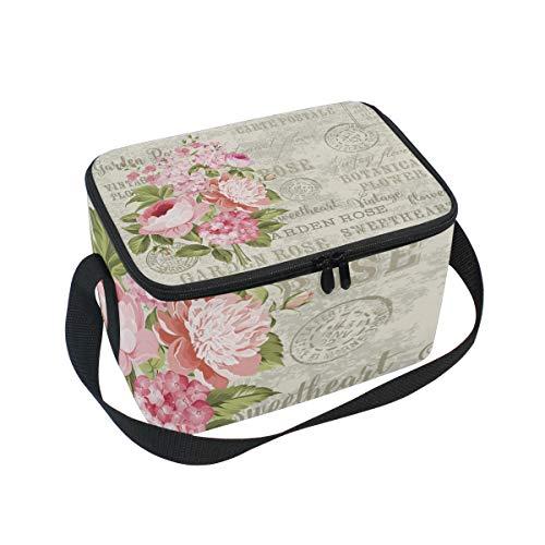 Lunch Bag Flower Garland for Invitation Card Cooler for Picnic Shoulder Strap Lunchbox