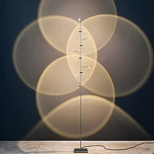 HQXH Retro Lámpara de pie Industrial 3W Lámpara de Lectura Vertical de Plata Negra 3 lámpara / 5 lámpara con Interruptor de botón 110-220V Lámpara de pie,5 Lamp Holders