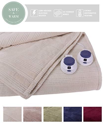 SoftHeat by Perfect Fit | Ultra Soft Plush Electric Heated Warming Blanket with Safe & Warm Low-Voltage Technology (King, Natural) (Renewed)