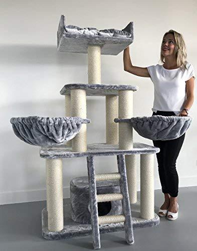 Rascador para gatos grandes Panther Gris claro baratos arbol xxl maine coon gato adultos con hamaca gigante sisal muebles sofa escalador torre Árboles rascadores cama cueva repuesto medianos
