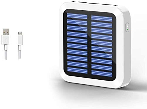 LILIS Portable Generator Portable Power Station Solar Power Bank 10000mAh With 3 USB Outputs & Dual Inputs & LED Flashlight, Compatible With Most Smart Phone (Color : White)
