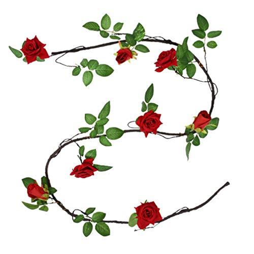 KESYOO Guirnaldas de Flores de Rosas Artificiales Colgantes Guirnalda Floral Falsa con Enredaderas Hojas Decoración Floral de La Pared del Jardín del Banquete de Boda para El Día de San