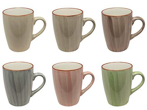 MC Trend 6er Set Kaffeebecher - 6 wunderbare harmonische Farben 350 ml Porzellan-Tassen-Geschirr Kantine Küche zu Hause 350 ml (6er Set Gruen-Rose-BLAU-Taupe-GRAU-Creme)