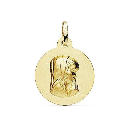 Medalla Oro 18K Virgen Niña Matizada 16mm. [Ab8987Gr] - Personalizable - Grabación Incluida En El Precio