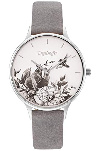 Engelsrufer Armbanduhr Blume Silber Nubuk Lederband grau