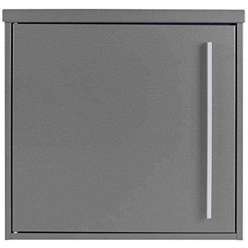 Moderner Briefkasten grau-aluminium (RAL 9007) MOCAVI Box 101 Postkasten wetterfest, rostfrei, deutsche Qualität, Edelstahl-Namensschild, groß, Din A4