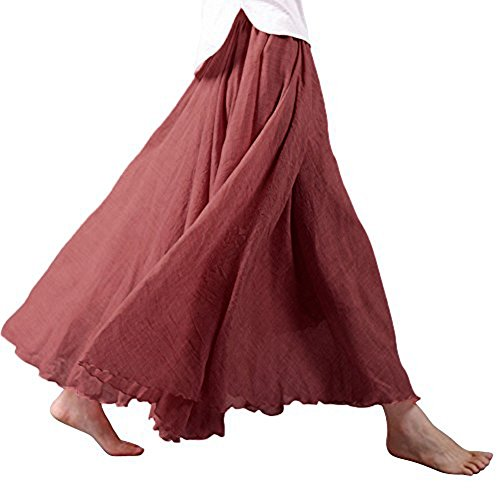 Tomwell Donne Pieghettato Retro Stile della Boemia Maxi Gonna A-Lino Lunghezza di Cotone Elastica Colore Solido Rosso 95CM