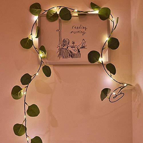 Guirnalda luminosa de hojas de eucalipto LED, con pilas de alambre de cobre hada, guirnalda colgante para casa, boda, Navidad, jardín, oficina, decoración (eucalipto, 2 m x 10 LED)
