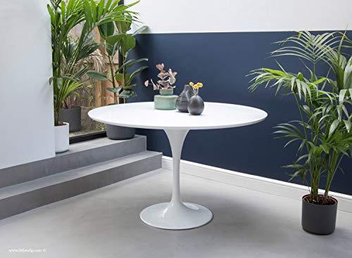 Little Tulip Shop Esstisch, rund, laminiert, Tulpen-Design, 120 cm, Weiß