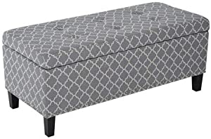 """HOMCOM Large 42"""" Tufted Linen Fabric Upholstery Storage Bench Ottoman with Lift-top- Grey Lattice"""